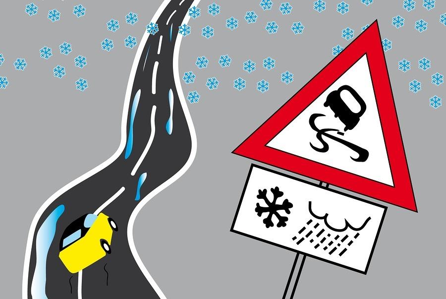 Danger Road At Winter