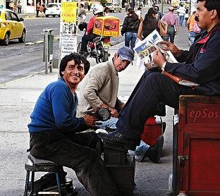 happy shoeshine guy
